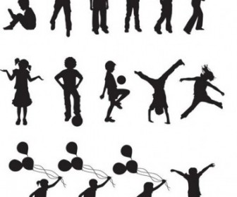 Free Vector Children Silhouettes Vector Pack