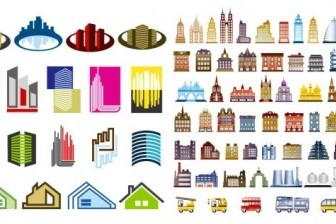 Construction Of The Main House Vector Icons