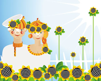 Sunflowers with Couples Illustration