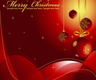 Red Merry Christmas Greeting Card Illustration