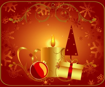 Red Greeting Card with Christmas Gifts