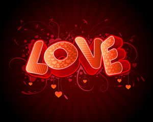 Vector 3D Love Text Background