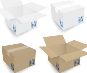 Free vector cardboard boxes open & closed