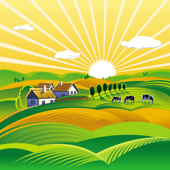 Rural Landscape With Vineyard Vector Ai Svg Eps Vector Free Download