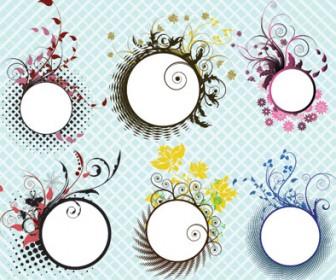 Circle Floral Frames Vector
