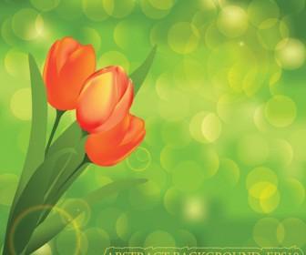 Red tulip landscape background vector art