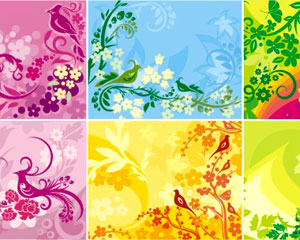 Abstract floral ornament background art