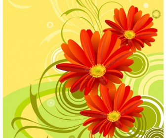 Gerbera Flower Background Vector