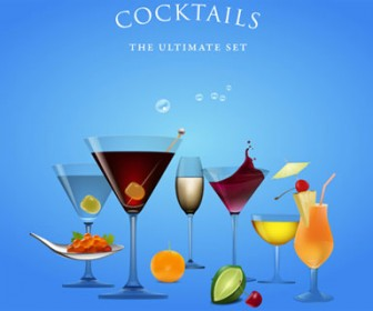 Illustrations Cocktails Vector Set