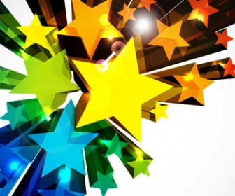 3D Star colorful background
