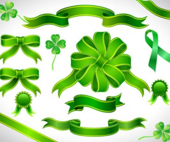 Illustrations Green Ribbons Vector