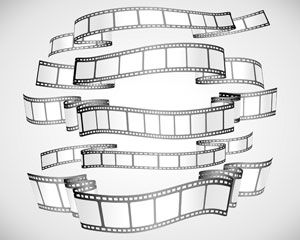 Film strip banners black and white