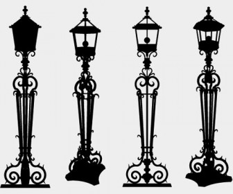 Vector lamppost street silhouette