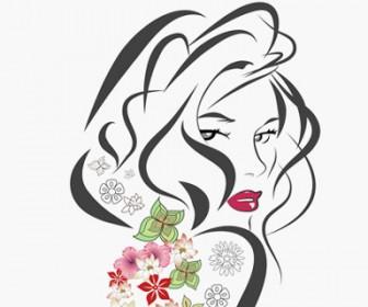 Girl Flower Vector Illustration