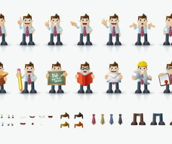 Business Man Character Icons