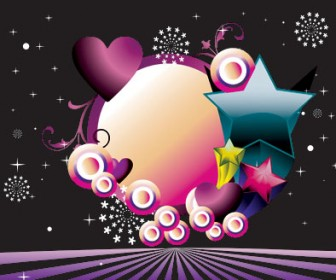 Background Banner with Circles Stars and Hearts
