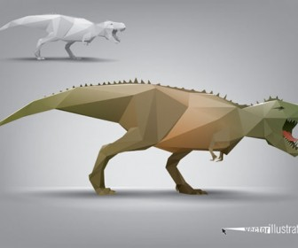 Dinosaur Triangle Polygon Model Vector