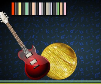 Guitar with Disco Ball illustration