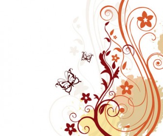 Free Vector Floral with Butterflies Background