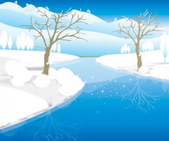 Snow Landscape vector illustration