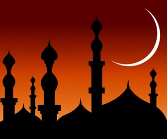 Abstract Mosques Silhouette Background