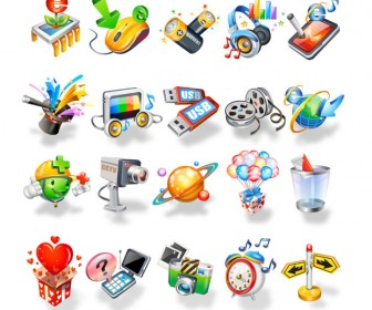 Digital 3D Icons Vector