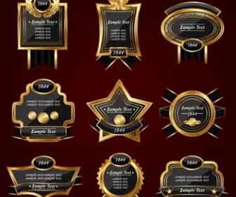 Black Gold Retro Labels