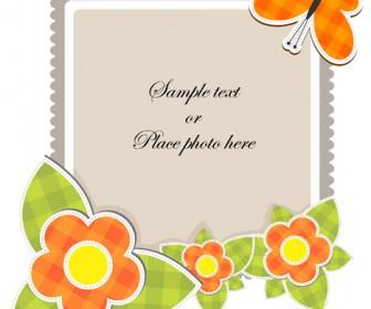 Flower photo frame vector design