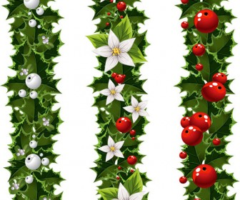Green Christmas Garland and Mistletoe Vector