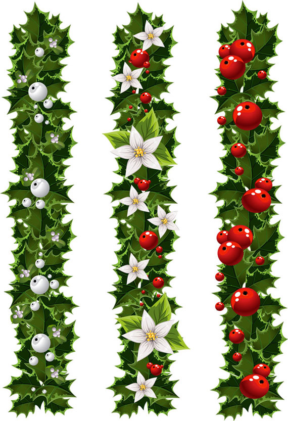 Green Christmas Garland And Mistletoe Vector Ai Svg Eps Vector Free Download