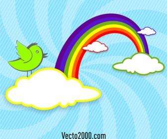 Rainbow, Clouds and Bird