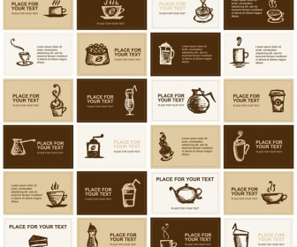 Coffee Style Business Cards Vector