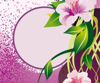 Violet Flower vector frame background