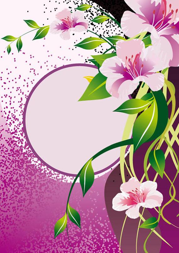 Violet Flower Vector Frame Background Ai Svg Eps