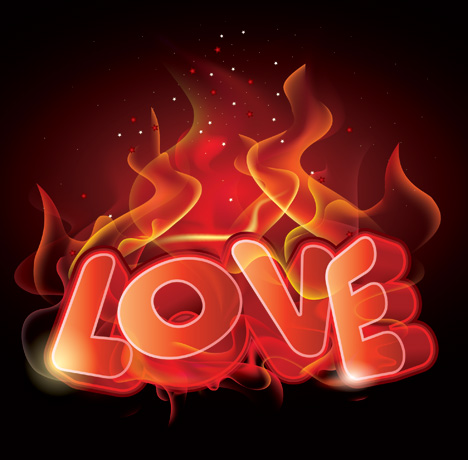Flaming Love Poster Ai Svg Eps Vector Free Download