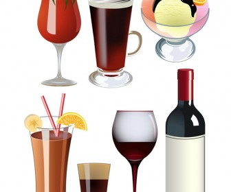 Cocktails and Wine Vector Set
