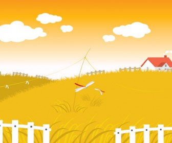 Autumn village landscape vector