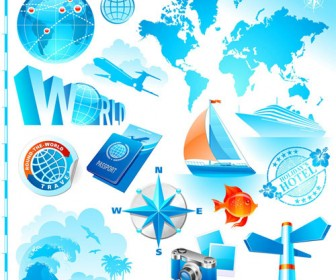 Blue Travel Icons Pack
