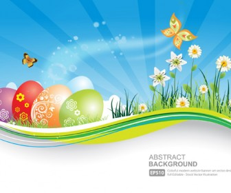 Easter natural banner with eggs