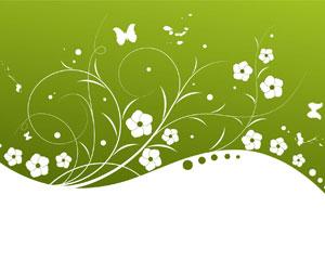 Green Background Flower Frame Template