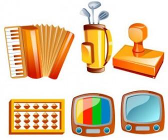 3D elements icon set