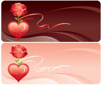 Valentines Banners Vector Background