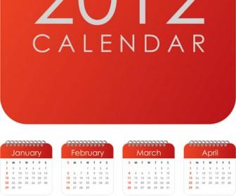 Red 2012 Calendar Vector