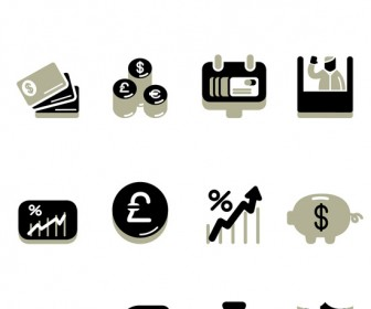 Icons of finance, banking and economy
