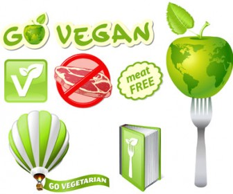 Vegetarian icons set