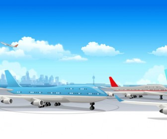 Airport Plane Vector Illustration