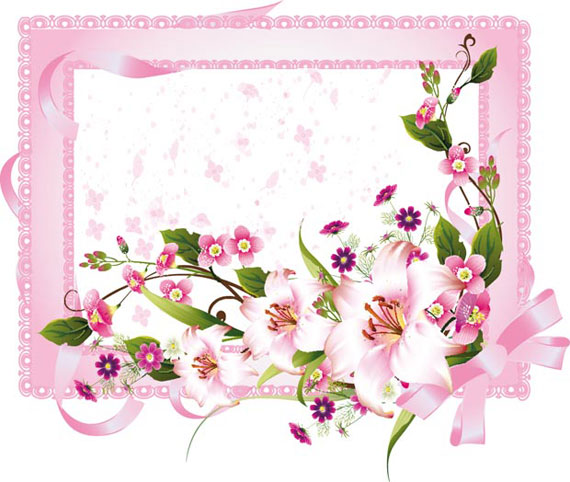 Wedding Invitation Card With Flower Vector