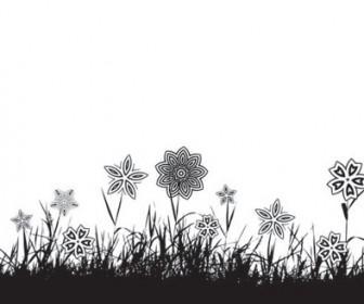 Grass Flower silhouette vector