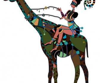 African Girl with Giraffe Illustration