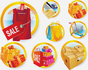 Free Vector Pack Shopping Sale Illustration
